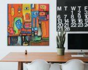 50x50 Office Painting von Etelka Kovacs-Koller Originalgemälde am Arbeitsplatz