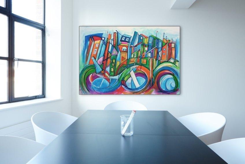 The Blue City Office Artwork von Etelka Kovacs-Koller Kunstwerk in Büroumgebung