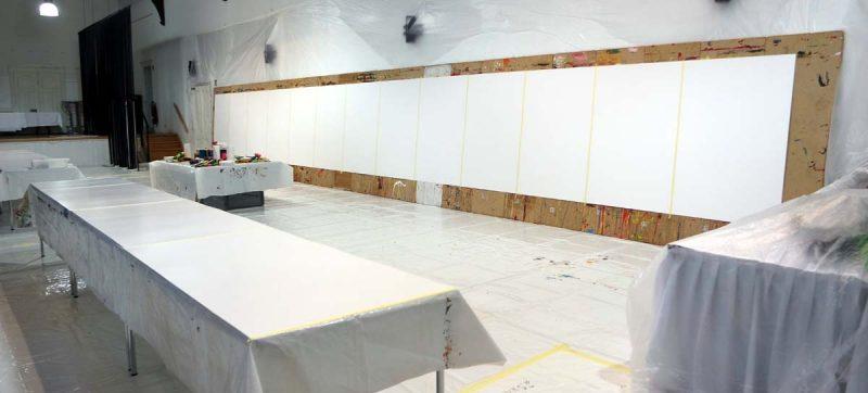 Veranstaltungsraum präperiert für ein Action Painting Event