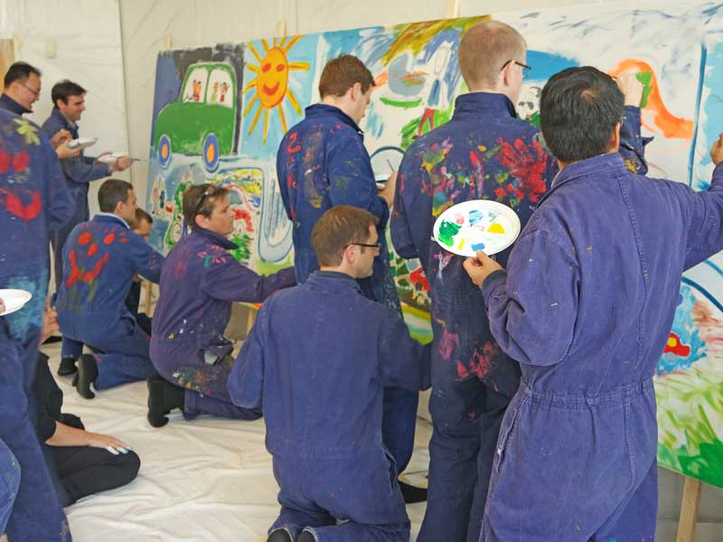 Teambuilding Visionsentwicklung: Action Painting Workshop an der HSG