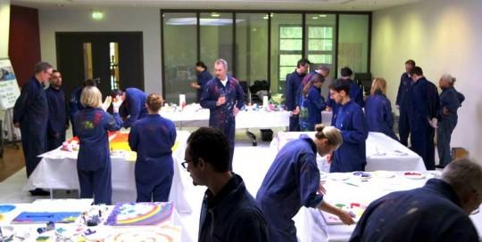 Teamevent gemeinsam malen - internationales Team