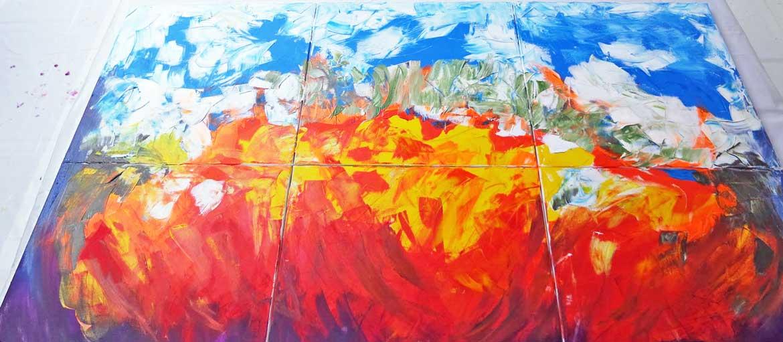 Vollendetes Action Painting am Mitarbeitertag