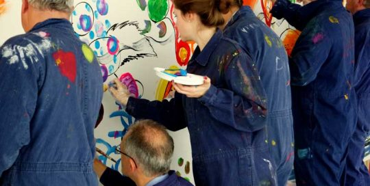 Firmenevent mit Action Painting als Hauptattraktion