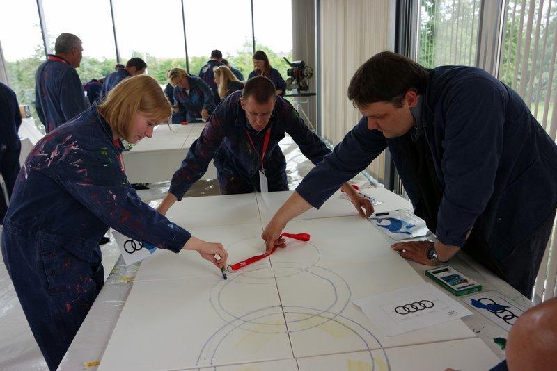 Visonsentwicklung am kreativen Teamevent,
